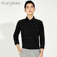 太平鸟男装 黑色新款刺绣衬衫修身时尚韩长袖衬衣B2CA61364