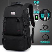 双肩包男韩版休闲书包男大容量防水登山旅游背包行李袋户外旅行包 双接口黑色