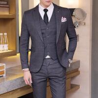 秋冬新款时尚休闲常规英伦风格子商务结婚礼服男士西装三件套