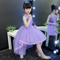 女童连衣裙2018春装新款童装夏装夏季公主裙韩版礼服儿童洋气裙子 3126紫色拖尾背心 送发箍