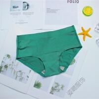 墨绿色内裤中腰女士三角裤棉裆舒适无痕一片式冰丝性感复古两条装内裤女 墨绿色 (2条装) 均码