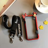 可以背的iphonex苹果8plus手机壳iphone斜挎xr边框7p挂绳X女xsmax XS Max 6.5寸红蝴蝶