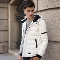 【2件1.5折】唐狮羽绒服男短款冬季新款青少年连帽纯色修身短款外套潮