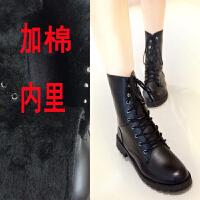 马丁靴女平底学生英伦风春秋女靴子女短靴单靴大码机车军靴骑士靴 加棉