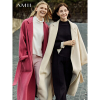 【到手价:156元】Amii极简韩版时尚毛衣女慵懒冬新款撞色洋气小高领开衩摆百搭上衣