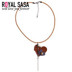 皇家莎莎PU皮项链女锁骨链日韩版心形皮质颈链项圈复古脖子连饰品