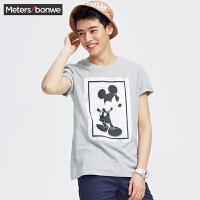美特斯邦威夏男MTEE迪士尼系列纹理米奇投影短袖恤726049