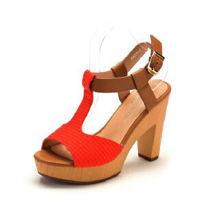 【3折到手价62.7元】Fondberyl/菲伯丽尔粗跟防水台PU凉鞋FB42119125