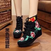 老北京布鞋女短靴内增高休闲鞋高坡跟古风复古民族风绣花鞋单靴子