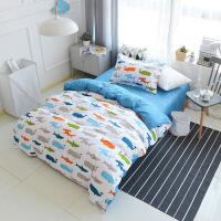 单人床简约风床上用品三件套 学生三件套 全棉宿舍用套件 0.9-1.2床通用