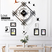 创意钟表造型钟表挂墙北欧石英钟表挂钟客厅静音创意家用现代简约个性大气时尚挂墙时钟 6相框 20英寸以上