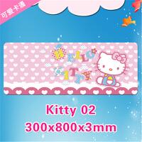可爱女生粉色卡通kt猫超大鼠标垫 �」�喽KT萌桌垫礼物800*300*3mm(1 kt02 30x80