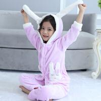 秋冬季儿童睡衣套装女童宝宝珊瑚绒小孩可爱童装家居服