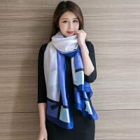 杭州丝绸丝巾女秋冬季围巾冬天保暖长款大披肩春秋季纱巾