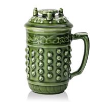 乾唐轩活瓷杯大乾坤高杯创意陶瓷带盖公茶水杯子商务礼品