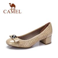 Camel/骆驼女鞋 春季新款 休闲粗方跟鞋 舒适浅口单鞋