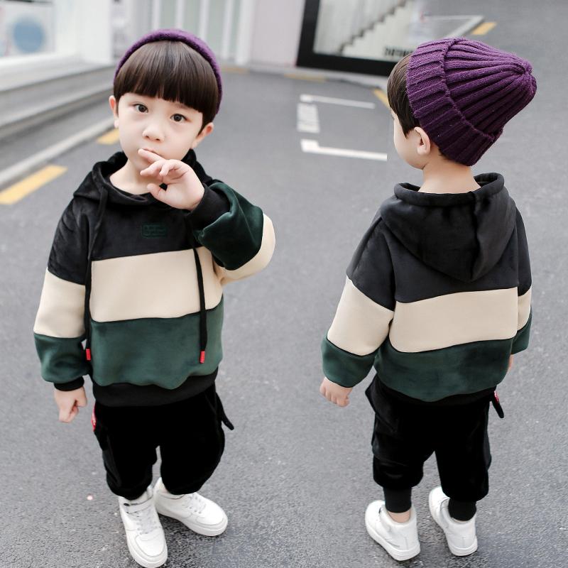 男童金丝绒套装两件套小童秋冬装