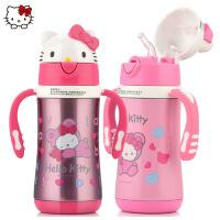 KT凯蒂猫儿童保温杯宝宝吸管杯带柄手防漏学生不锈钢便携水壶