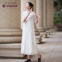 生活在左2019夏季新款日常时尚复古改良版旗袍女装中长款大气端庄