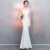 №【2019新款】冬天穿的白色晚礼服女宴会高贵气质主持人长款鱼尾年会连衣裙