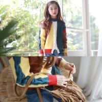 时尚百搭童毛衣秋冬新品童装毛衣撞色童毛线上衣中大童装