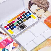 柏伦斯24色固体水彩颜料套装分装便携12色18色36色透明水彩画颜料初学者手绘水粉颜料固体画笔本套装组合