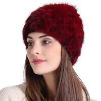 冬季新款中老年时尚皮草帽子女冬天针织毛线加厚保暖水貂毛套头帽