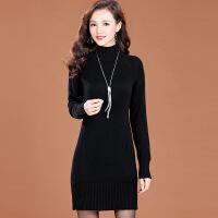 秋冬新款加厚羊毛衫女中长款半高领毛衣韩版修身打底针织连衣裙潮