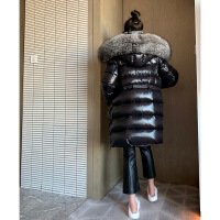 №【2019新款】冬天美女穿的2018冬装欧货新款超大毛领中长款亮面连帽羽绒服外套女