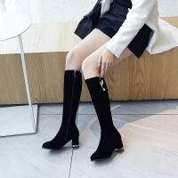 长筒靴女粗跟绒面高跟骑士靴不过膝高筒靴侧拉链女士靴子长靴大码 黑色 Y2019