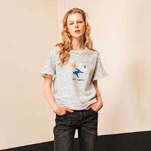 初语夏季新款迪士尼疯狂动物城卡通印花圆领条纹短袖T恤女纯棉T