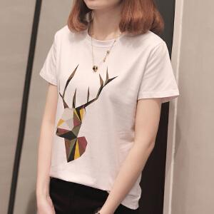 短袖T恤女夏装新款韩版学生印花体恤韩范