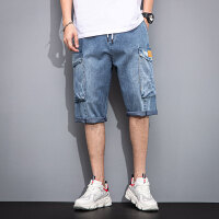 verhouse 男装短裤夏季新款潮流百搭松紧腰牛仔五分裤时尚多口袋裤子