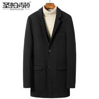 2017秋冬新品双面羊绒大衣男士青年修身毛呢外套呢子大衣男西装款 黑色<挖袋>