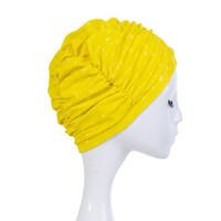 时尚防水女士PU泳帽褶皱涂层专业成人长发防水护耳游泳帽 支持礼品卡支付