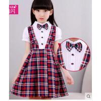新款女童假两件连衣裙 时尚女儿学院风公主裙衬衫格子裙  可礼品卡支付