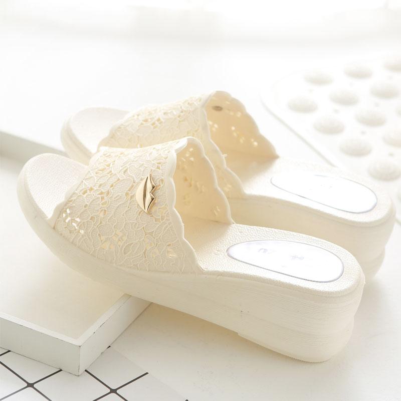 夏季女式厚底坡跟凉拖鞋女士塑料浴室拖鞋室内外拖鞋
