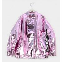韩国嘻哈潮牌亮面银色pu夹克oversize皮衣廓型外套男女潮