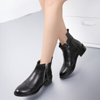 娜箐箐冬新款牛皮欧美粗跟尖头短靴真皮低跟裸靴切尔西靴女鞋