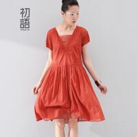 初语  新款 女装纯棉V领宽松显瘦纯棉连衣裙气质女 8522432930