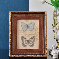 欧式复古做旧相框创意美式7寸照片画木质书房摆件照片墙餐厅装饰 7寸