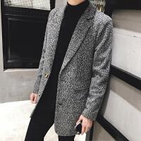 毛呢大衣新款西装领男青少年学生韩版修身纯色呢料翻领秋冬季加厚
