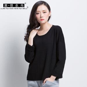 春秋季新品女长袖针织衫宽松 蝙蝠袖上衣纯黑色圆领卷袖t恤休闲