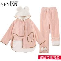 珊瑚绒睡衣女秋冬季加厚保暖甜美可爱学生韩版加绒家居服长袖套装 粉色双层加厚 M