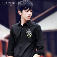【199元任意2件专区】太平鸟男装 夏季新品男创意胶印黑色时尚中袖衬衫B2CB62450