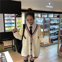 V领网红女学生韩版宽松学院风显瘦毛衣针织衫外套女开衫+宽松衬衣 米白色(毛衣) 开衫 M 建议80/105斤