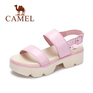 Camel/骆驼女鞋 夏季新款 清凉防滑羊皮中跟凉鞋女时尚鞋