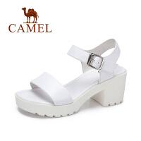Camel/骆驼新款夏季简约舒适凉鞋女方跟高跟女鞋
