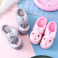 儿童棉拖鞋冬季男女童宝宝软底防滑小兔子毛拖鞋居家棉鞋