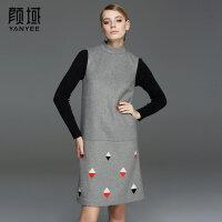 颜域品牌女装2017冬装新款欧美立领几何格子中长款呢子背心连衣裙
